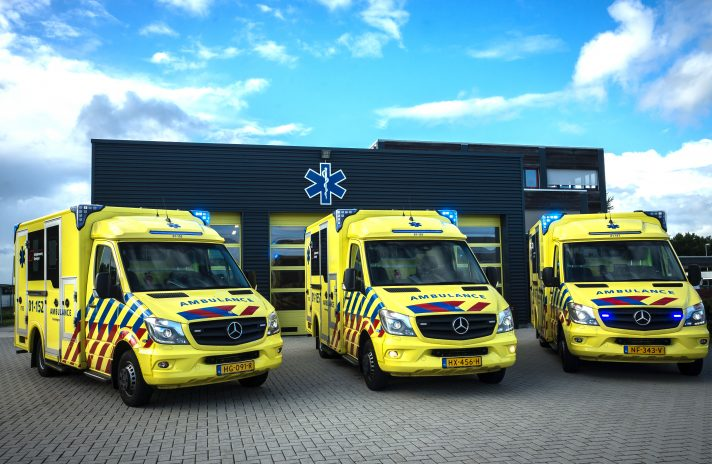 A picture of three ambulances.