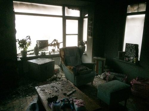 Afgebrand huis Teun en Michelle